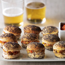 Horchow - Mini Turkey Sliders - Exclusively ours. Get the meal off to a great start with these savory appetizers. Bite-size charbroiled turkey burgers topped with tomato chutney are placed between an artisan bakery's poppy-seed bun. Each 36-count order serves 12; 3 sliders per serving. From The Perfect Bite Co. Please note t