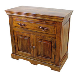 """San Miguel Nightstand - This San Miguel Nighstand is part of our latest additions to the newest line of furniture. Clean lines, exclusive designs and as always, 100% Solid wood construction. The San Miguel line needs no introduction. This line stands alone from the rest with matching pieces available for Every room in your home. Click on """"collection"""" to see more. No veneers are used, Only solid planks of wood with a soft hand-rubbed wax. This finish makes this piece a perfect accent to any Spanish Colonial or Tuscan decor. This San Miguel nightstand has many versatile uses such as an end table, telephone stand, bathroom storage and many more. Let your imagination run wild."""