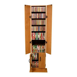 Venture Horizon - Promo 4 Door Multi-Media Tower (Black) - Finish: BlackStore your music and movie collection or office CDs in this roomy media tower, constructed of durable wood composites in your choice of different finish options. It features two different levels and has a sleek, streamlined design that can easily fit into any empty space in an office or family room. Organizes all media. Roomy storage inside. Sleek styling. Small footprint. Rugged construction. Constructed from durable, stain resistant and laminated wood composites that includes MDF. Made in the USA. Pictured in Oak finish. Assembly required. Media storage capacity:. CD's : 270. DVD's : 168. Blu-ray's: 200. VHS tapes: 91. Disney tapes: 63. Audio cassettes: 300+. Weight: 44 lbs.. Assembled Size: 15 in. W x 6.5 in. D x 68 in. HThe Promo Media Tower is a great entry level media storage cabinet. It will accommodate most media collections. Behind the hinged doors there are nine 9 shelves - 7 adjustable, 2 fixed.
