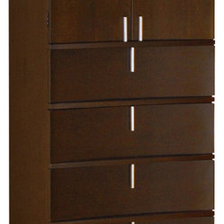 Modus Furniture Legend Wood 4 Drawer 2 Door Chest in Chocolate