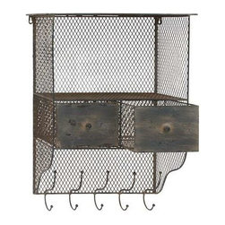 BZBZ66571 - Metal Wall Organizer with Column and Hooks - Metal Wall Organizer with Column and Hooks. This multi-purpose wall organizer with column and hooks is a sleek modern design with antique metal look. Some assembly may be required.