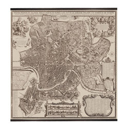 Authentic Models - AM 1676 Rome Map - This high quality replica map combines distinct historical provenance with contemporary interest in unique and interesting wall art. Just hang it up on any empty wall space in your home or office and this will surely become your focal point! This fabric giclee printed wall map features french finished cherry wood slats, top with hardware, UV resistant fabric won't fade, waterproof, hardware included. Measures 75.75 x 1.5 x 84.75.