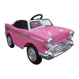 Kid Motorz - Kid Motorz Chevy Bel Air Battery Powered Riding Toy - Pink - 0859 - Shop for Tricycles and Riding Toys from Hayneedle.com! We're not sure what the appropriate age is for their first viewing of American Graffiti but they can always attend something a bit more their speed at the drive-in when they pull up in the Kid Motorz Chevy Bel Air Battery Powered Riding Toy - Pink. Modeled after the classic Chevy Bel Aire this licensed and scaled-down version is the perfect size for kids three and up. The rugged plastic body features realistic detailing from grille to fins and a 12-volt battery lets them cruise in forward or reverse at speeds up to five MPH. Realistic sound effects add to the experience of cruising that they'll never forget.