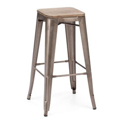 Design Lab MN - Amalfi Stackable Rustic Matte Elm Wood Seat Steel Barstool Set of 4 - With its rustic matte finish and elm wood seat, this vintage Tolix bar stool is the perfect fit for any bar, restaurant, coffee shop or even bachelor pad. With a sturdy, rolled steel frame, this classic drafting stool can withstand even long-term, high-traffic use.