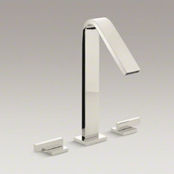 KOHLER - KOHLER Loure(R) deck-mount bath faucet - Combining a sleek profile with enhanced utility, Loure introduces a classically modern look to your bath decor. This strikingly contemporary bath faucet offers a minimalist design with clean, smooth lines. ADA-compliant lever handles provides comfortable