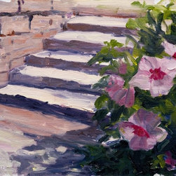 Summer Hibiscus Artwork - Artist Kit Hevron Mahoney delightfully captures the colorful flower beds along Denver's Washington Park. The vibrant hues of this oil painting bring a lively, natural element to your home.
