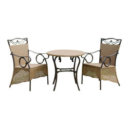 International Caravan - International Caravan Valencia Set of 3 Skirted Bistro Patio Set - International Caravan - Patio Bistro Sets - 4133S3 - For over 44 years International Caravan has been one of the leaders in quality outdoor and indoor furniture. Using only the finest materials they bring skill craftsmanship and complete dedication to those who enjoy their furniture. You cannot go wrong with any of International Caravan's beautifully constructed pieces of furniture that are sure to be a focal point inside or outside of your home for years to come.