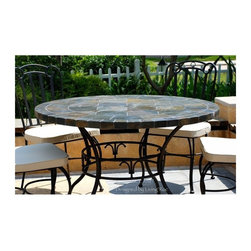 "OCEANE 49"" & 63"" MOSAIC SLATE STONE GARDEN PATIO TABLE - Reference: OT903-12-US+OTB2-12-US"