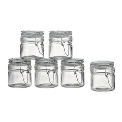 Set of 6 Mini Spice Jars with Clamp - A storage classic with a modern new design and a million uses. Mini glass jars with airtight lids clamp down tight on staples, spices, toiletries and more.
