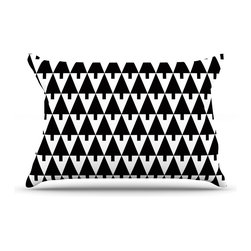 "Kess InHouse - Gabriela Fuente ""Happy X-Mas Black & White"" Geometric Monotone Pillow Case, Stan - This pillowcase, is just as bunny soft as the Kess InHouse duvet. It's made of microfiber velvety fleece. This machine washable fleece pillow case is the perfect accent to any duvet. Be your Bed's Curator."