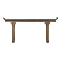 Mandarin Altar Table, Weathered Oak - This table is sleek and modern with an Asian-inspired flair. It's like taking an overseas trip, only you're staying in your entryway.