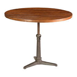 Iron Dining/Bar Table, Medium Brown - Versatile and chic, the Iron Dining and Bar Table features adjustable height to go from coffee to cocktails in style. The iron tripod style base features a table height adjustor that allows the tabletop to rise and lower from table height to bar height and back again. The round tabletop is constructed from lightly distressed wood panels and finished in a warm medium brown tone. Enjoy a lingering lunch or a beer during the ballgame with this multi-functional table.