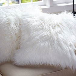 Faux Fur Pillow Cover, Long Shaggy - Nothing says warmth and winter quite like white fur pillows.