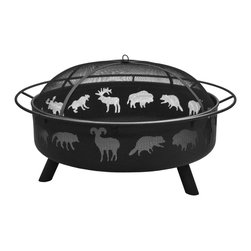 Landmann - Super Sky Wildlife/Black Finish Fire Pit with Poker & Spark Guard Only - -Large and unique, can burn large amount of firewood for large fires