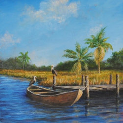 Original Tropical Landscape Painting (Hanging Out) - Hanging Out is an original 24x18 inch acrylic on canvas tropical landscape painting framed in a natural wood frame, signed by the artist, and ready to hang. Many beautiful waterways in Florida and the Caribbean can give you the feeling that you're living the simple life of 100 years ago immersed in nature.
