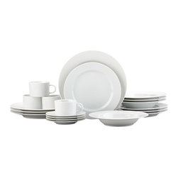 Maison 20-Piece Dinnerware Set - This streamlined, contemporary classic has long been a Crate and Barrel favorite for its fine quality, durability and versatility. The simple, clean look of our Maison pure white porcelain dinnerware is sure to accent many memorable meals chez vous.