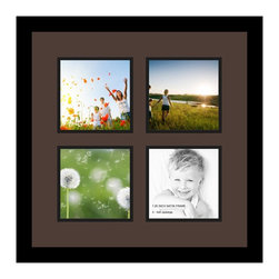 ArtToFrames - ArtToFrames Collage Photo Frame  with 4 - 6x6 Openings and Satin Black Frame - Your one-of-a-kind photos deserve one-of-a-kind frames, but visiting a custom frame shop can be time consuming and expensive. ArtToFrames extensive and growing line of inexpensive multi opening Photo Mats will get you the look you want at a price you can afford. Our Photo Mats come in a variety of sizes and colors and can be custom made to your needs. Frame choices range from traditional to contemporary, with both single and multiple photo opening mat options. With our large selection of custom frame and mat choices, the design possibilities are limitless. When you're done, you'll have a unique custom framed photo that will look like you spent a fortune at a frame shop. Your frame will be delivered directly to your front door or sent as a gift straight to your recipient.
