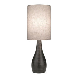 Lite Source - 6 in. Table Lamp in Dark Bronze - Includes one CFL bulb. Requires one 13W CFL type bulb or 40W incandescent A type bulb. Brushed dark bronze ceramic body. Linen fabric shade. On and off socket switch. Color temperature: 2700K. Socket: E27. Shade: 6 in. Dia.. Shade height: 8.5 in.. Overall: 6 in. Dia. x 17.5 in. H (2.6 lbs.). Assembly instructions