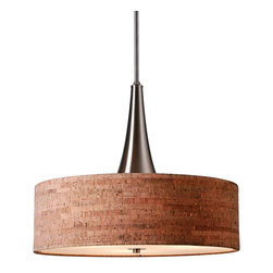 """Kenroy - Bulletin 22"""" Wide Natural Cork Pendant - Ideal for dining and foyer areas, this pendant light pairs a brushed steel finish with a natural cork drum shade. Add a little creative flair to your home with this pendant light. Featuring a brushed steel finish and a natural cork drum shade for warm, ambient illumination. From the Bulletin Collection by Kenroy Home."""