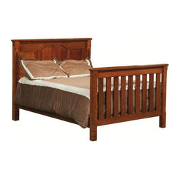 Chelsea Home - 3-Stage Convertible Crib Set - Mattress not included. Sturdy slats and arched back panels. Adjustable with age and size of the child. Guard rail and 3-level mattress support. Built in classic mission style. Conform to the consumer product safety commission (CPSC) 16CFR1219 and ASTM F1169-10A standards. Up to date with all regulations tested through certified third party labs. Constructed with quality and durability. Made from mortise and tenon white quarter sawn oak joint. Cherry stain finish. Assembly required. Crib: 56 in. L x 32 in. W x 45 in. H (100 lbs.). Toddler rail: 51 in. L x 1 in. W x 4 in. H (10 lbs.). Full size rails: 76 in. L x 1 in. W x 7 in. H (20 lbs.)Chelsea Home Furniture proudly offers heirloom quality furniture, custom made for you. What makes heirloom quality furniture? Its knowing how to turn a house into a home. Its creating memories. Its ensuring the furniture you buy today will still be the same 100 years from now! Every piece of furniture in our collection is built by expert furniture artisans with a standard of superiority that is unmatched by mass-produced composite materials imported from Asia or produced domestically. Many pieces are signed by the craftsman that produces them, as these artisans are proud of the work they do! In addition, our craftsmen use tongue-in-groove construction, and screws instead of nails during assembly and dovetailing both painstaking techniques that are hard to come by in todays marketplace. So adorn your home with a piece of furniture that will be future history, an investment that will last a lifetime. Decorative embellishment along the top edges of the crib, giving just the right amount of detail.