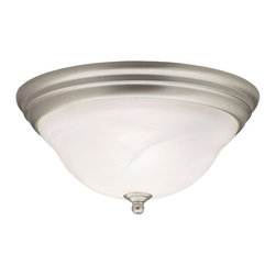 BUILDER - KICHLER 8076NI Transitional Flush Mount Ceiling Light - From the Telford Collection, affordable elegance with classic styling and clean finishes make this Kichler Lighting flush mount ceiling light extremely desirable. The Brushed Nickel finish compliments the undulating tones of the alabaster swirl glass, giving it plenty of visual interest.