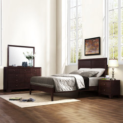 Tribecca Home - Tribecca Home Louisburgh 5-Piece Bedroom Set - Give your bedroom a classic look with this five-piece bedroom set. Featuring a rich dark finish that makes it stand out, this set is made of solid wood to ensure its longevity and includes a queen bed, nightstand, dresser, chest, and mirror.
