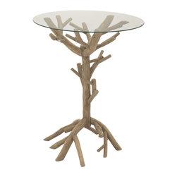 Attractive and Unique Wood Glass Accent Table - Description:
