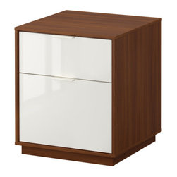 NYVOLL Chest with 2 drawers - Chest with 2 drawers, medium brown, white