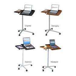None - Adjustable Ergonomic Laptop Computer Cart Desk - The rolling ergonomic laptop desk is available in black or wood color. With this adjustable,angled mounting table,reading or doing work in bed will be a breeze. The lightweight,compact design and wheels makes this desk portable and functional.