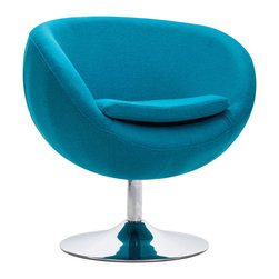 Zuo Modern - Zuo Modern Lund Arm Chair Island Blue - Arm Chair Island Blue belongs to Lund Collection by Zuo Modern The Lund Chair takes its inspiration from modern European design and mixes it with American details such as the soft wool-like texture of the fabric and the vibrant color offerings. The base is chrome with swivel. Arm Chair (1)