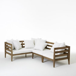 Jardine Sectional Set - For larger-scale outdoor entertaining, a sectional provides plenty of seating for guests. The neutral cushions will need spicing up with some accents, but this piece is a great foundation for your decor.
