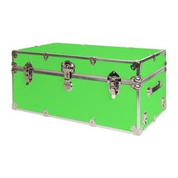 Rhino - Rhino Armor Storage Trunk in Neon Green (Supe - Choose Size: Super JumboTwo nickel plated steel universal wheel adapter plates mounted on the side of the trunk. Laminated armor exterior. Strong hand-crafted construction using both old world trunkmaking skills and advanced aviation rivet technology. Steel and aluminum aircraft rivets used to ensure durability. Heavy duty proprietary nickel plated steel hardware. Steel lid hinges and steel lid stay for keeping the lid propped open. Tight fitting steel tongue and groove lid to base closure to keep out moisture, dirt, insects and odors. Stylish lockable nickel plated steel trunk lock. Loop for attaching a padlock. Genuine leather handles. American craftsmanship. Self-sticking adhesive on the back of the name plate. Upper or lower case lettering. Lettering is in black. The name plate can take 24 characters per line. The max number of lines is 2. Warranty: Lifetime warranty includes free non-cosmetic repairs for the life of the trunk. Made from smooth 0.38 in. premium grade baltic birch hardwood plywood. No paper or plastic lining anywhere avoiding peeling or tearing. Name plate made from plastic. No assembly required. Cube: 20 in. W x 18 in. D x 18 in. H (22 lbs.). Small: 30 in. W x 16 in. D x 12.5 in. H (24 lbs.). Medium: 30 in. W x 16 in. D x 16 in. H (26 lbs.). Large: 32 in. W x 18 in. D x 14 in. H (27 lbs.). Extra Large: 34 in. W x 20 in. D x 15 in. H (32 lbs.). Extra Extra Large: 36 in. W x 18 in. D x 18 in. H (36 lbs.). Jumbo: 40 in. W x 22 in. D x 20 in. H (52 lbs.). Super Jumbo: 44 in. W x 24 in. D x 22 in. H (69 lbs.). Name Plate: 3 in. L x 1 in. H (0.5 lbs.)The hand-crafted American Made Rhino Armor Cube is constructed from the highest quality components. Rhino Armor is an exterior 1000d Cordura Nylon textured sheathing that's highly resistant to water penetration, denting and scratching. The Rhino Armor Cube is conveniently sized and ruggedly built. In fact, its strong enough to stand on ! The Rhino Ar