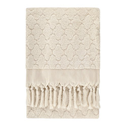 Nine Space - Lattice Bath Sheet, Cream - Marrakech made modern. This bath sheet features a traditional lattice pattern that takes it stylistic influences from the grates of Morocco. The jacquard terry weave and delicate hand-tied fringe will give your bath a worldly sense of style with an artisan's touch. Tailored from pure Turkish cotton for a luxuriantly soft hand.