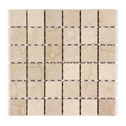 Stone & Co - Crema Marfil 2x2 Polished Marble Brick Mosaic Square Mosaic - Finish: Polished