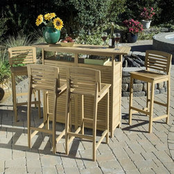 HomeStyles - 5-Pc Outdoor Bar Set - Includes bar cabinet and four bar stools. Eco-friendly. Traditional style. Island inspired design. Arc shaped top suspended above the four storage shelves. Durable and natural resistance to water. Back legs and contoured seat of stool in arc shape. Made from shorea wood. Made in Indonesia. Cabinet: 52.5 in. W x 17.75 in. D x 43.5 in. H. Bar stool: 18.75 in. W x 15.75 in. D x 39.75 in. H. Warranty. Cabinet assembly instructions. Bar stool assembly instructionsThis bar set is designed to provide endless hours of outdoor entertainment.