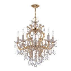 Crystorama - Crystorama Maria Theresa 1 Tier Chandelier in Polished Gold - Shown in picture: Maria Theresa Chandelier Draped in Clear Hand Cut Crystal; Classic Maria Theresa design styles with a modern twist. For centuries - Maria Theresa style of crystal chandeliers have been a sign of wealth - style - and class. In keeping with the time honored traditions of our European artisans - Crystorama's Maria Theres