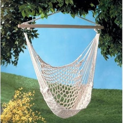 Gifts & Decor Cotton Rope Hammock Cradle Chair With Wood Stretcher - This is a simple hammock with a wooden bar, and it can be hung just about anywhere.