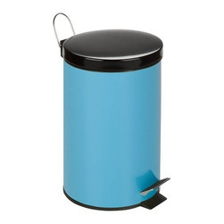 12L Step Trash Can, Blue - Honey-Can-Do TRS-03552 Colorful Steel Step Trash Can, Blue.  A contemporary and cheerful addition to any room, this 12L trash can is the perfect size for a kitchen, dorm room, or home office. The sturdy construction and robust design stand up to daily use. A steel foot pedal provides hands-free operation to keep germs at bay. A plastic inner trash bucket is fully removable for easy emptying and cleaning. The robins egg blue, hand print resistant exterior is easy to clean and features a metal fold down carrying handle.