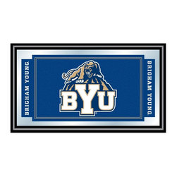 Trademark Global - Wood Framed Wall Mirror w Brigham Young Unive - Your favorite sports fan will love this stylish framed rectangular mirror, a decorative accent piece featuring the Brigham Young University Cougars logo taking center stage. The mirror has a black wrapped wood frame and will be a bold addition to any rec room or game room decor. Great for gifts and recreation decor. Mirror with high quality print. Logo and mascot are shown in team colors. Black wrapped wood frames. 26 in. W x 15 in. H (7 lbs.)This officially licensed NCAA mirror is the perfect gift for the College Sports Fan in your life. Full of your favorite team's colors, this is a must have for your wall!