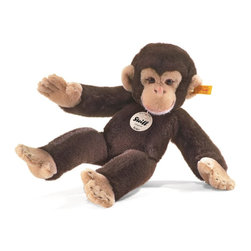 Steiff - Steiff Koko Chimpanzee Monkey - Steiff Koko Chimpanzee Monkey EAN 064722 is made of cuddly soft dark brown woven plush. Ages 3 and up. Machine washable. Handmade by Steiff of Germany.