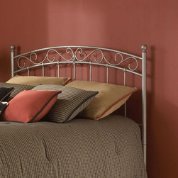 """FBG - Ellsworth Metal Headboard - The Ellsworth Headboard is a beautiful piece that will add style and class to any bedroom. The arched heardboard includes S-shaped details that give the metal bed a soft feel. This headboard will fit perfectly in any sleeping space. Features: -Linens and mattress are not included.-New Brown finish.-Headboards collection.-Gloss Finish: No.-Upholstered: No.-Powder Coated Finish: Yes.-Hardware Material: Metal.-Non Toxic: Yes.-Scratch Resistant: No.-Adjustable Height: No.-Lighting Included: No.-Wall Mounted: No.-Reversible: No.-Hardware Finish: New Brown.-Finished Back: Yes.-Distressed: No.-Hidden Storage: No.-Freestanding: No.-Frame Required: Yes.-Frame Included: No.-Drill Holes for Frame: Yes.-Collection: Ellsworth.-Swatch Available: No.-Eco-Friendly: No.-Product Care: Wipe with a clean, damp cloth.-Recycled Content: No.Specifications: -EPP Compliant: No.-CPSIA or CPSC Compliant: Yes.-ASTM Certified: No.-ISTA 3A Certified: Yes.-General Conformity Certificate: Yes.-Green Guard Certified: No.Dimensions: -Overall Height - Top to Bottom (Size: Full): 53"""".-Overall Height - Top to Bottom (Size: Queen): 53"""".-Overall Height - Top to Bottom (Size: King): 53"""".-Overall Depth - Front to Back (Size: Twin): 2.25"""".-Overall Depth - Front to Back (Size: Full): 2.25"""".-Overall Depth - Front to Back (Size: Queen): 2.25"""".-Overall Depth - Front to Back (Size: King): 2.25"""".-Overall Product Weight (Size: Twin): 18 lbs.-Overall Product Weight (Size: Queen): 23 lbs.-Overall Product Weight (Size: King): 28 lbs.-Overall Product Weight (Size: Full): 22 lbs.-Top of Headboard to Bed Frame (Size: Twin, Full, Queen, King): 33"""".-Bottom of Headboard to Floor (Size: Twin): 18"""".-Bottom of Headboard to Floor (Size: Full, Queen, King): 20"""".Assembly: -Assembly Required: Yes.-Tools Needed: Tools included.-Additional Parts Required: No.Warranty: -10 Year manufacturer limited warranty."""