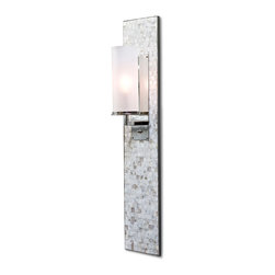 Kathy Kuo Home - Ilsa Coastal Beach Mother of Pearl Mosaic Wall Panel Sconce - Shimmering, precisely-cut shells surround this modern wall sconce. Shades of cream, alabaster and white create a clean, light palette as the perfect backdrop to this candelabra fixture in a silver base with a frosted shade.