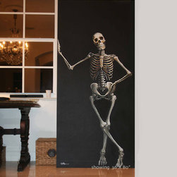 Huge Skeleton Painting by Collette and Company - I love this life-size skeleton painting for adding a spooky tone to the home.