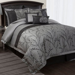 Lush Decor - Lush Decor Flower Texture 8-piece Silver Comforter Set - Create the bedroom of your dreams with this eight-piece silver comforter set. This all-polyester set features a beautiful floral motif that will make an elegant addition to any bedroom. Each piece in the set feels soft and luxurious.