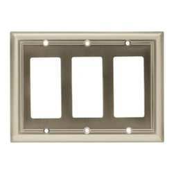 Liberty Hardware - Liberty Hardware 65165 Architectural WP Collection 6.77 Inch Switch Plate - A simple change can make a huge impact on the look and feel of any room. Change out your old wall plates and give any room a brand new feel. Experience the look of a quality Liberty Hardware wall plate. Width - 6.77 Inch, Height - 4.9 Inch, Projection - 0.2 Inch, Finish - Satin Nickel, Weight - 0.37 Lbs.