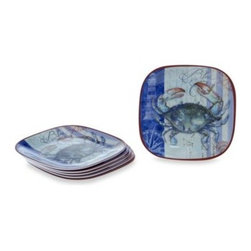 Certified International - Certified International Blue Crab Melamine Square 8.5-Inch Salad/Dessert Plate ( - This Blue Crab dinnerware collection by Certified International features both attractive and functional pieces. A must have for any table setting, these pieces allow you to create a stylish table setting with coordinating kitchen accessories.