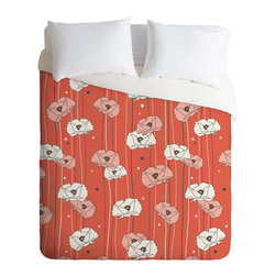 DENY Designs - Heather Dutton Red Poppy Field 1 Duvet Cover - Turn your basic, boring down comforter into the super stylish focal point of your bedroom. Our Luxe Duvet is made from a heavy-weight luxurious woven polyester with a 50% cotton/50% polyester cream bottom. It also includes a hidden zipper with interior corner ties to secure your comforter. it's comfy, fade-resistant, and custom printed for each and every customer.