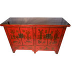 Chinese Antique Cabinet Lacquered In Red With Hand Painted Design
