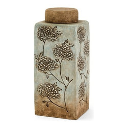 iMax - Fantina Large Canister with Lid - Aqua shades blend into calm sandy ceramic tones in this serene canister featuring textured floral accents.