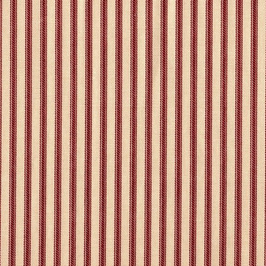 "Close to Custom Linens - 30"" Tailored Tiers, Lined, Ticking Stripe Crimson Red - A charming traditional ticking stripe in crimson red on a beige background. Includes two panels."